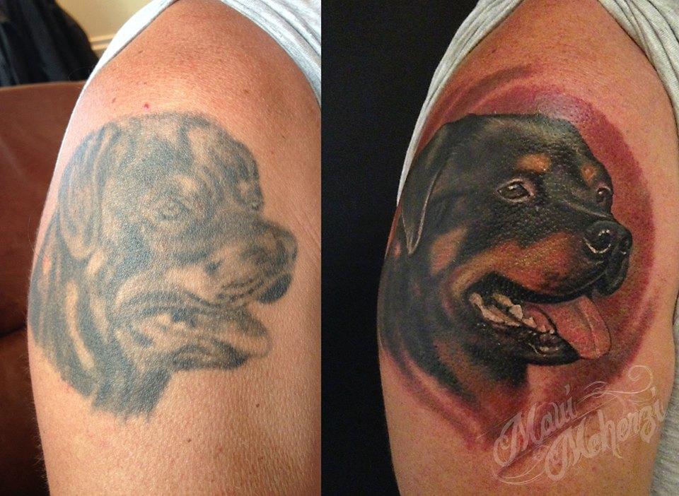 Maui Meherzi - Opus Magnum Tattoo Studio Wien - Dog Portrait Tattoo