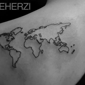 Opus Magnum Tattoo Wien Weltkarte Map  lines fani sofian meherzi filigran filigree lining black cheyenne tatouage τατουά ζ タトゥー 黥