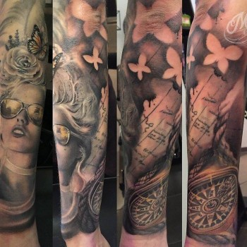 Maui Meherzi - Opus Magnum Tattoo Studio Wien - Sleeve Butterfly Pirate