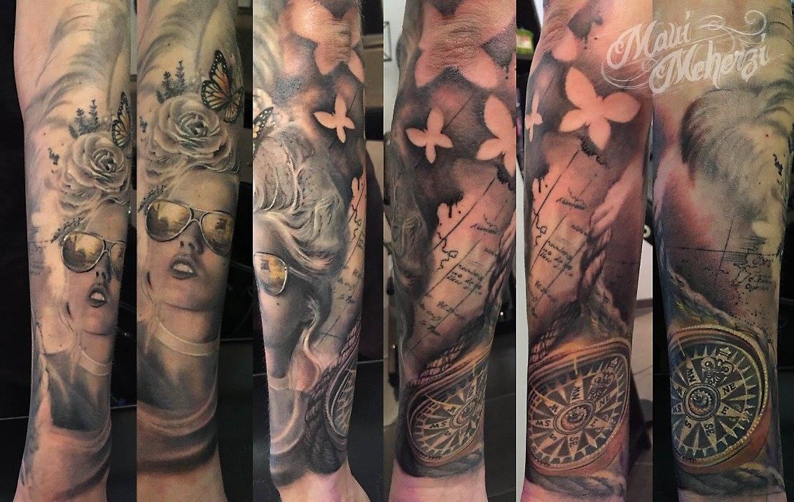 Maui Meherzi - Opus Magnum Tattoo Studio Wien - Sleeve Butterfly Pirate
