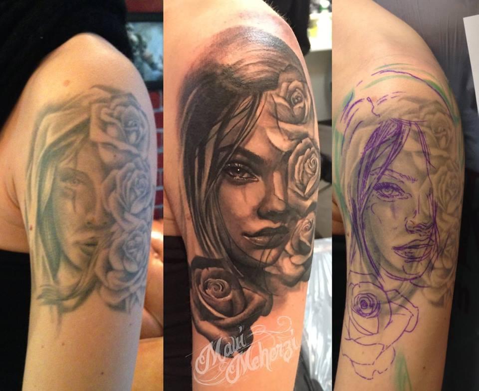 Maui Meherzi - Opus Magnum Tattoo Studio Wien - Cover Up Portrait