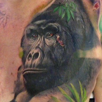 Maui Meherzi - Opus Magnum Tattoo Studio Wien - Gorilla Tierportrait Tattoo Animal Portrait