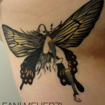 Opus Magnum Tattoo Wien Butterfly Schmetterling Frau Fantasy Art  lines fani sofian meherzi filigran filigree lining black cheyenne tatouage τατουά ζ タトゥー 黥