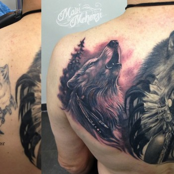 Maui Meherzi - Opus Magnum Tattoo Studio Wien - Wolf Tattoo Native American Tattoo Indianerin