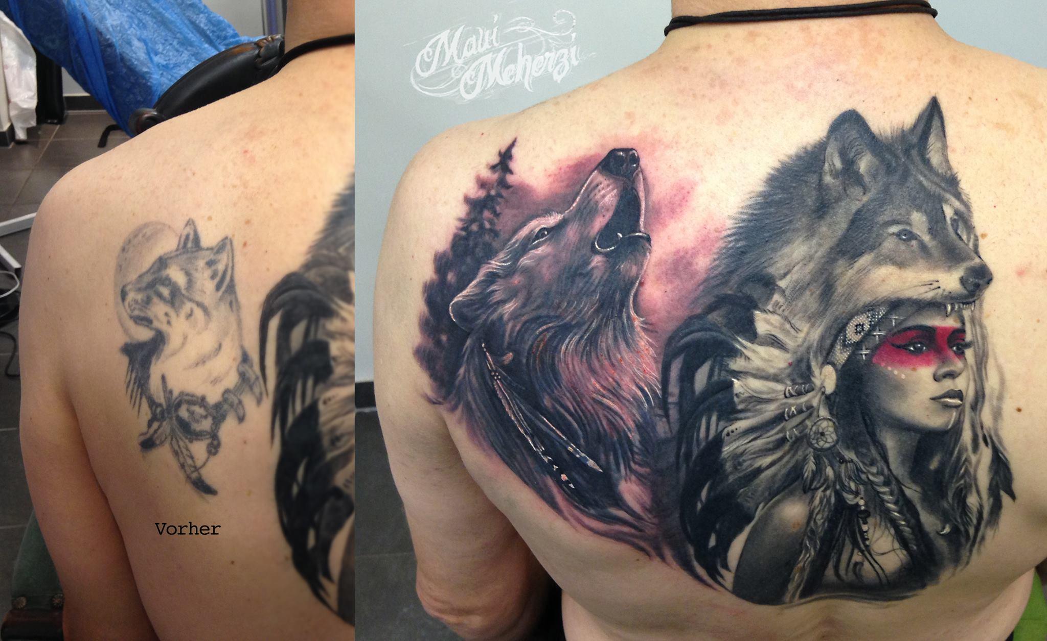 Maui Meherzi - Opus Magnum Tattoo Studio Wien - Wolf Tattoo Native American Tattoo Indianerin