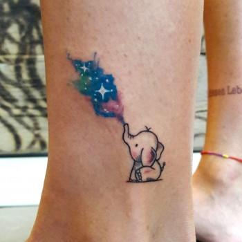 Opus Magnum Tattoo Wien Elefant Elephant Tattoo Galaxy   lines fani sofian meherzi filigran filigree lining black cheyenne tatouage τατουά ζ タトゥー 黥