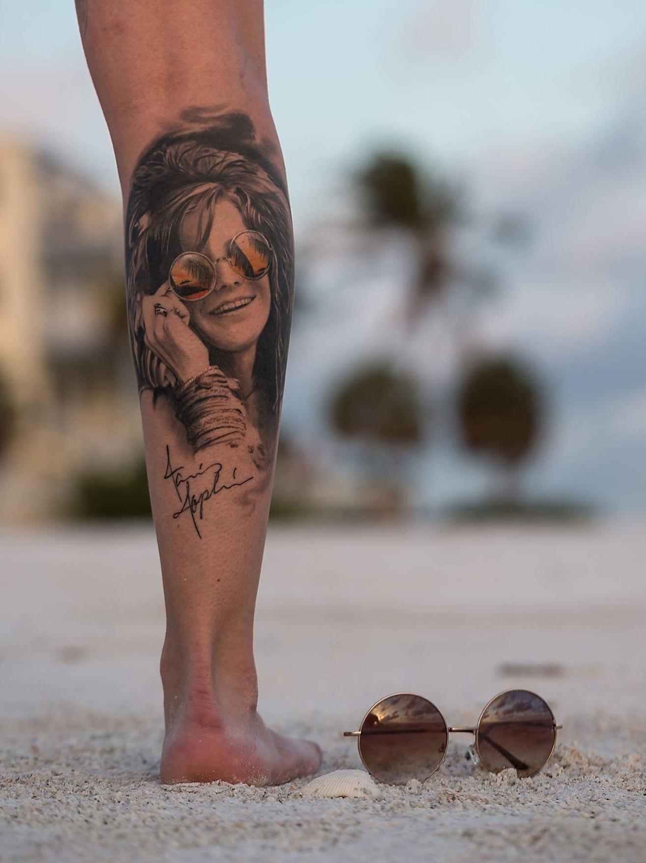 Maui Meherzi - Opus Magnum Tattoo Studio Wien - Janis Joplin Portrait
