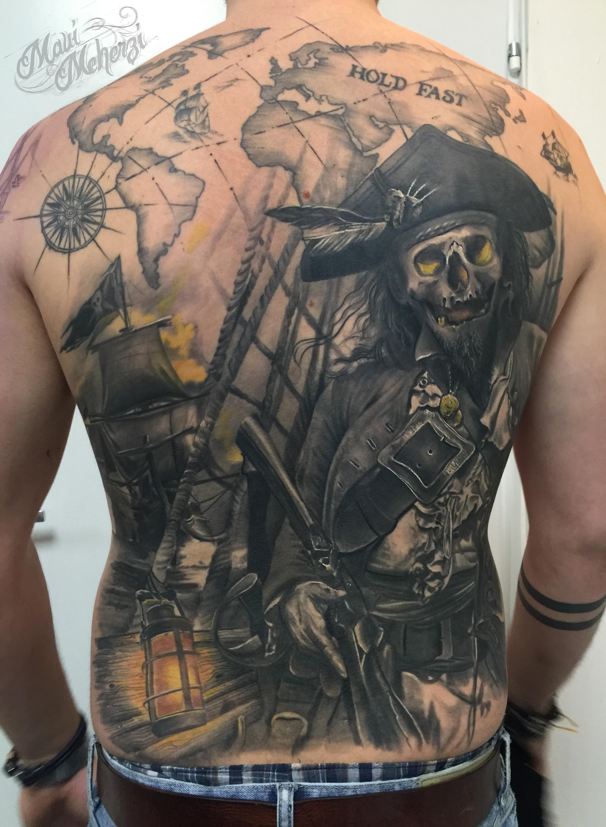 Maui Meherzi - Opus Magnum Tattoo Studio Wien - Sailor Ship Pirate Back Tattoo Healed