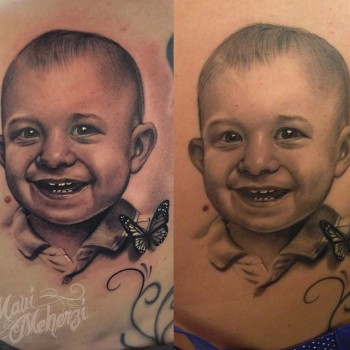 Maui Meherzi - Opus Magnum Tattoo Studio Wien - Portrait Tattoo Fresh/Healed