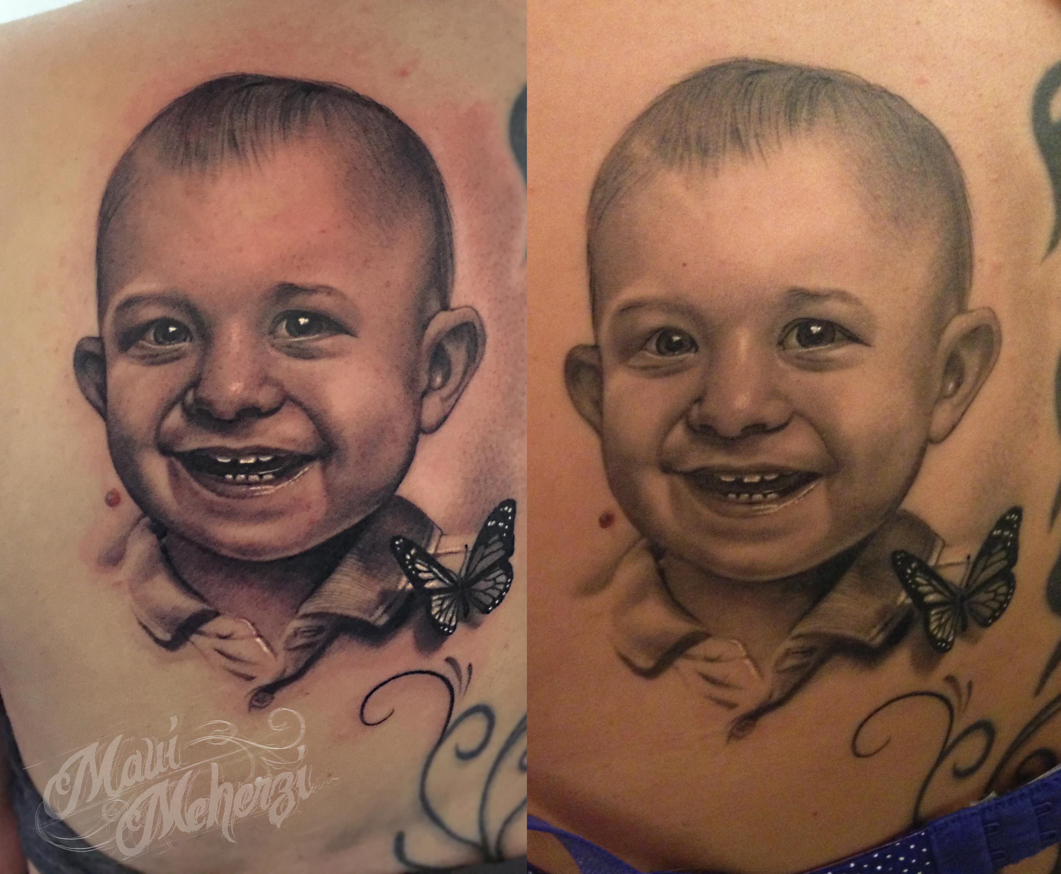 Maui Meherzi - Opus Magnum Tattoo Studio Wien - Portrait Tattoo Fresh/Healed