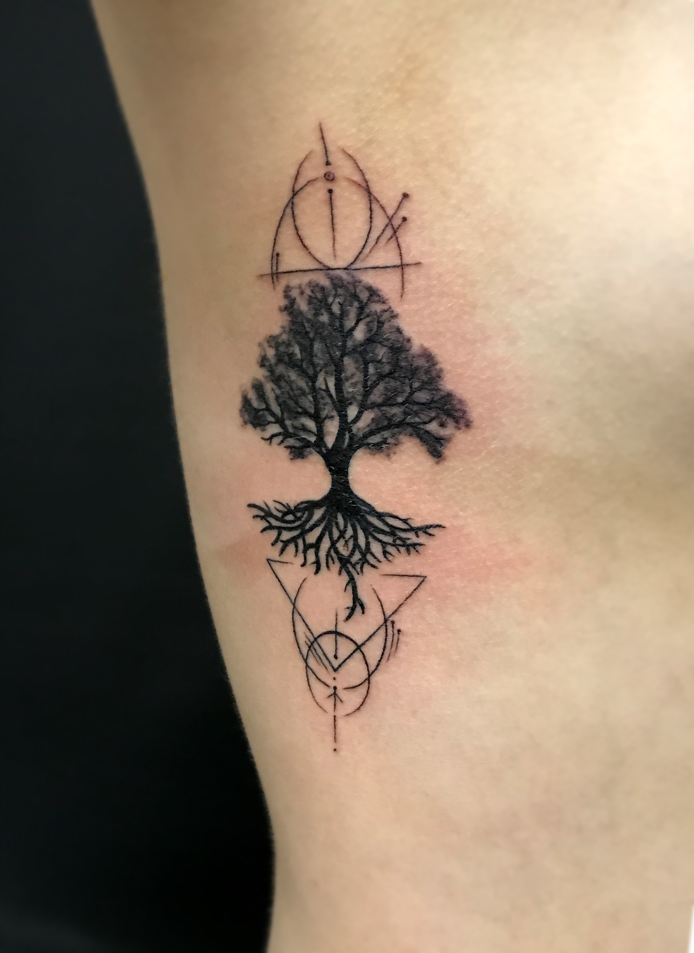 opus magnum sofian meherzi fani tattoo black stilistic tree geometry