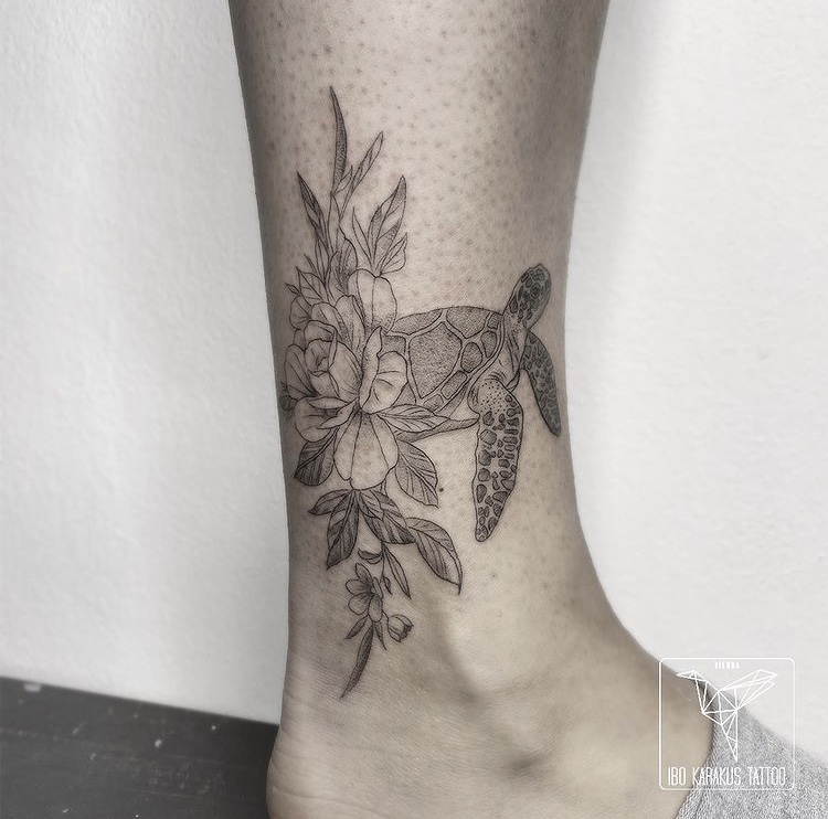turtle tattoo flower