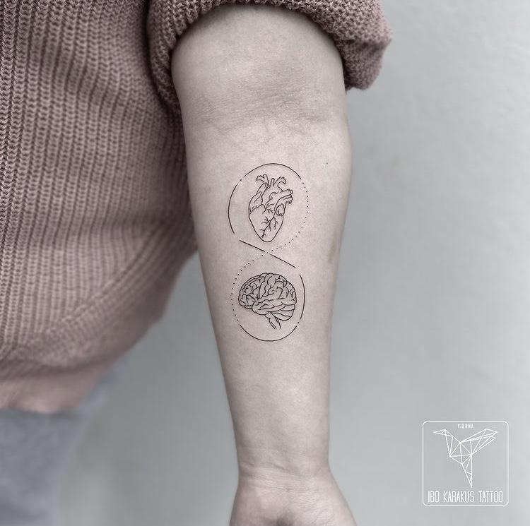 fineline tattoo mind heart brain