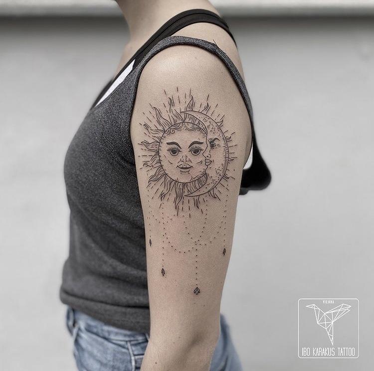 sonne mond tattoo sun moon