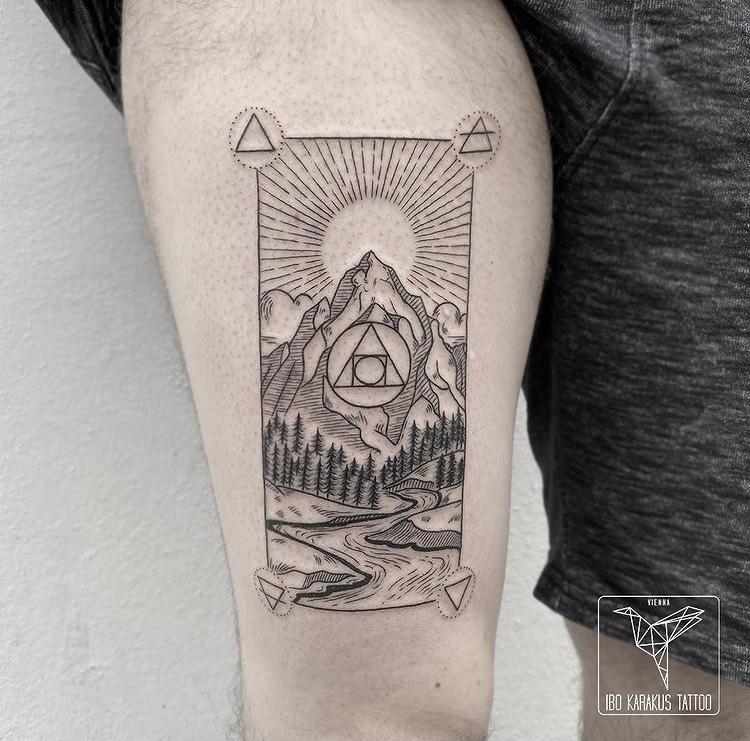 card tattoo mountains berge