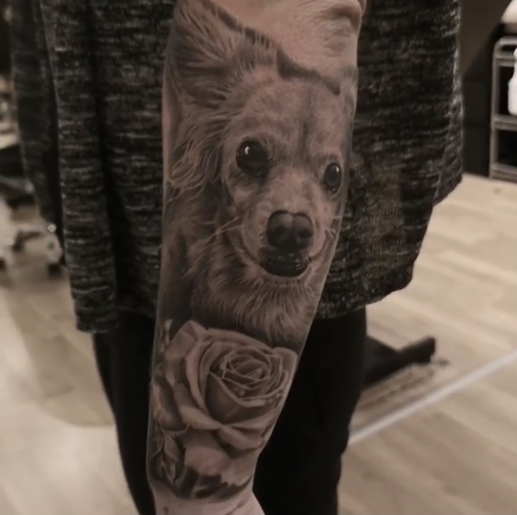 dog portrait tattoo rose realistic