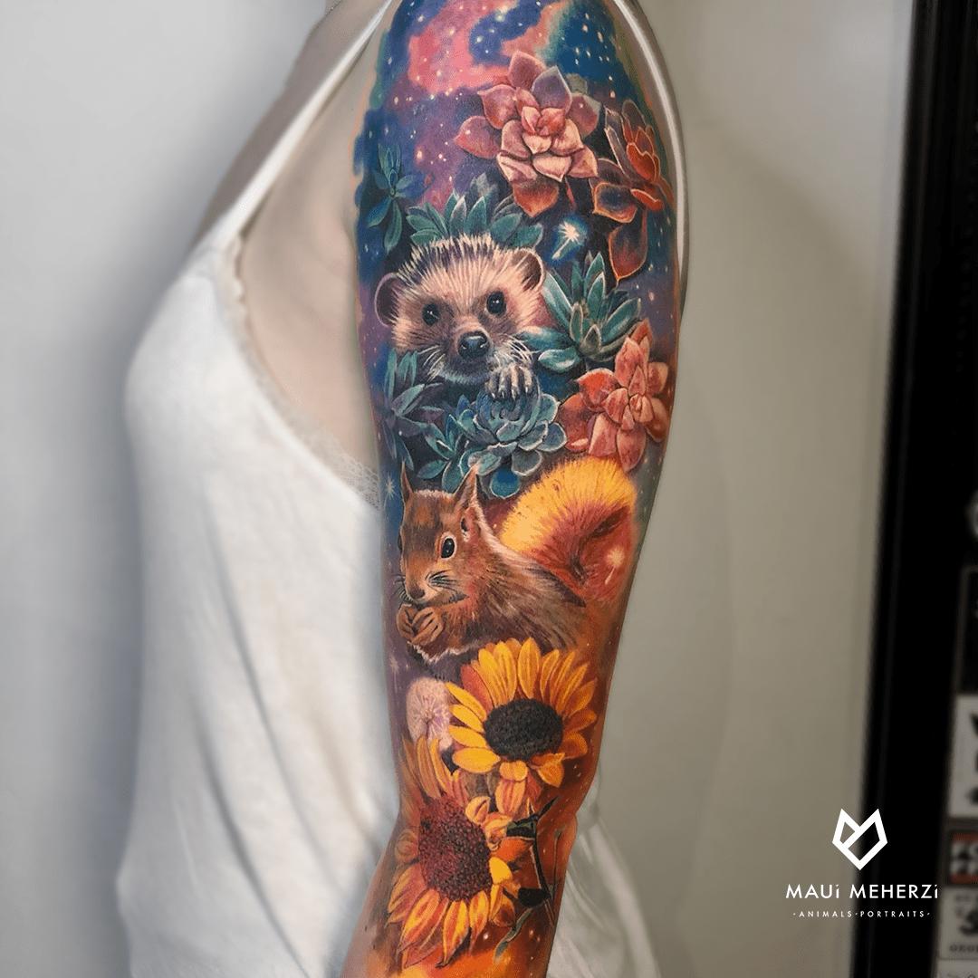 Maui Meherzi - Opus Magnum Tattoo Studio Wien Full Color Animal Sleeve Tattoo