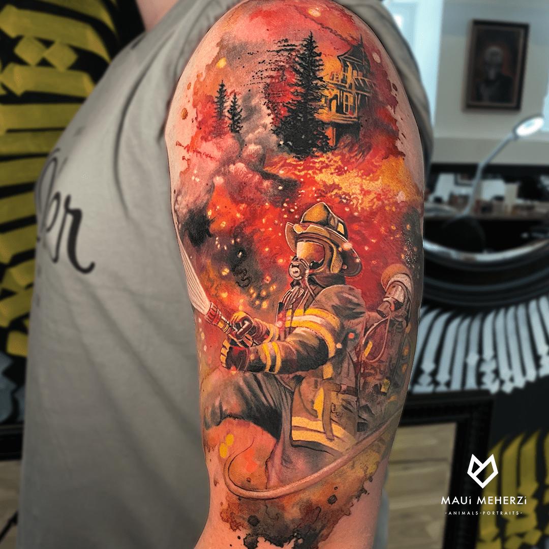 Maui Meherzi - Opus Magnum Tattoo Studio Wien Full Color Firefighter Tattoo