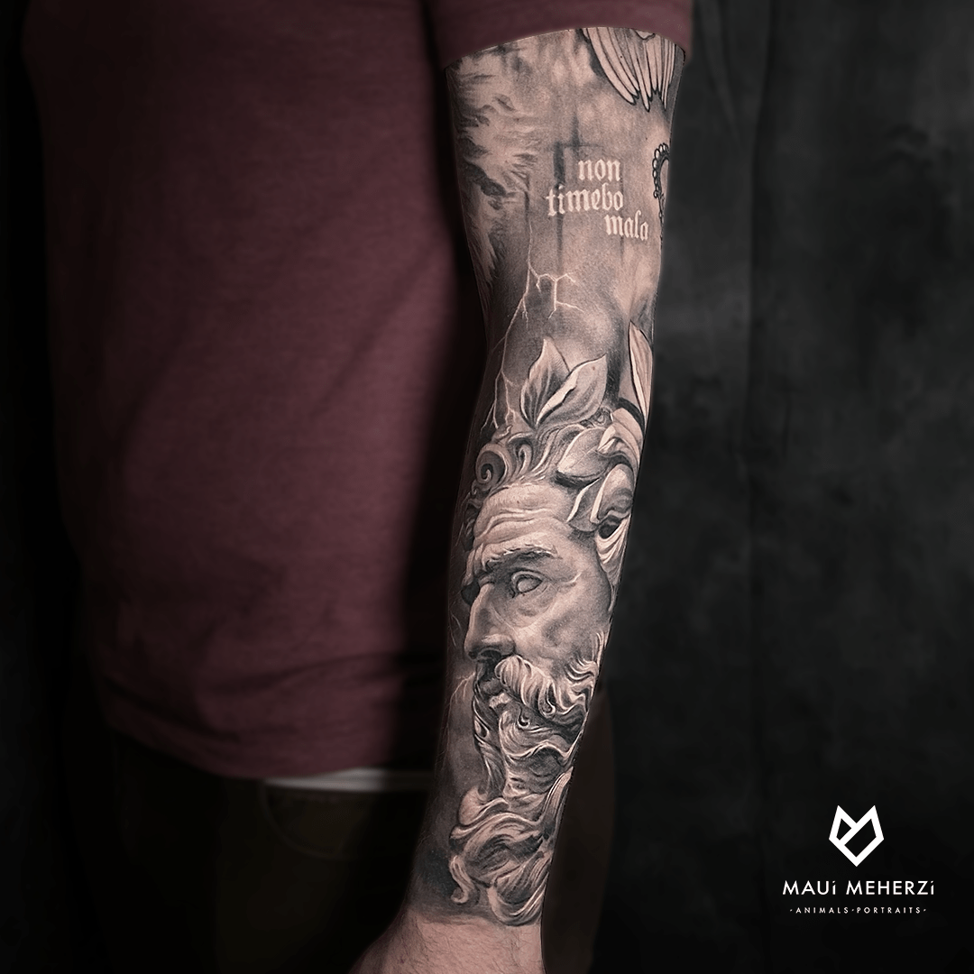 Maui Meherzi - Opus Magnum Tattoo Studio Wien Black and Grey Realism Poseidon
