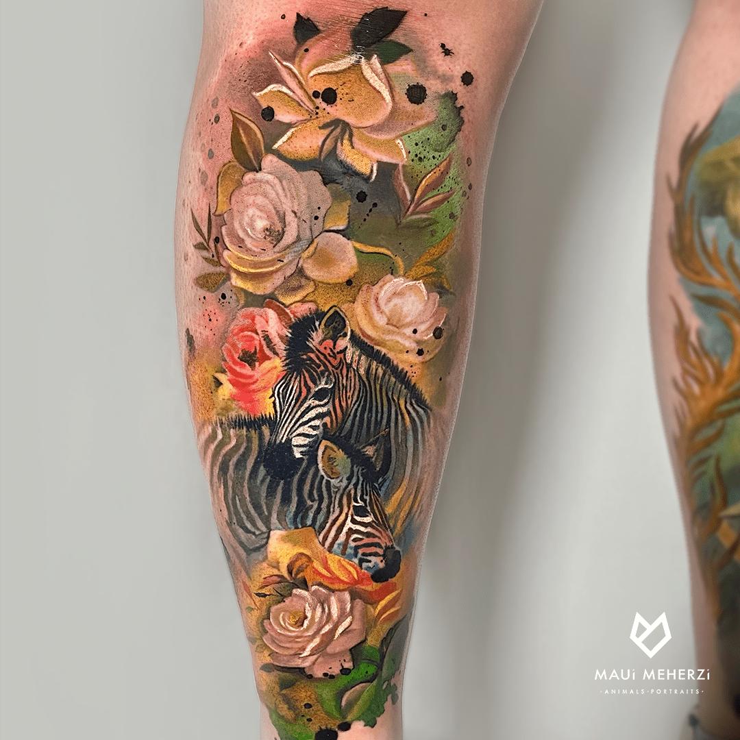 Maui Meherzi - Opus Magnum Tattoo Studio Wien Full Color Animal Tattoo Zebra