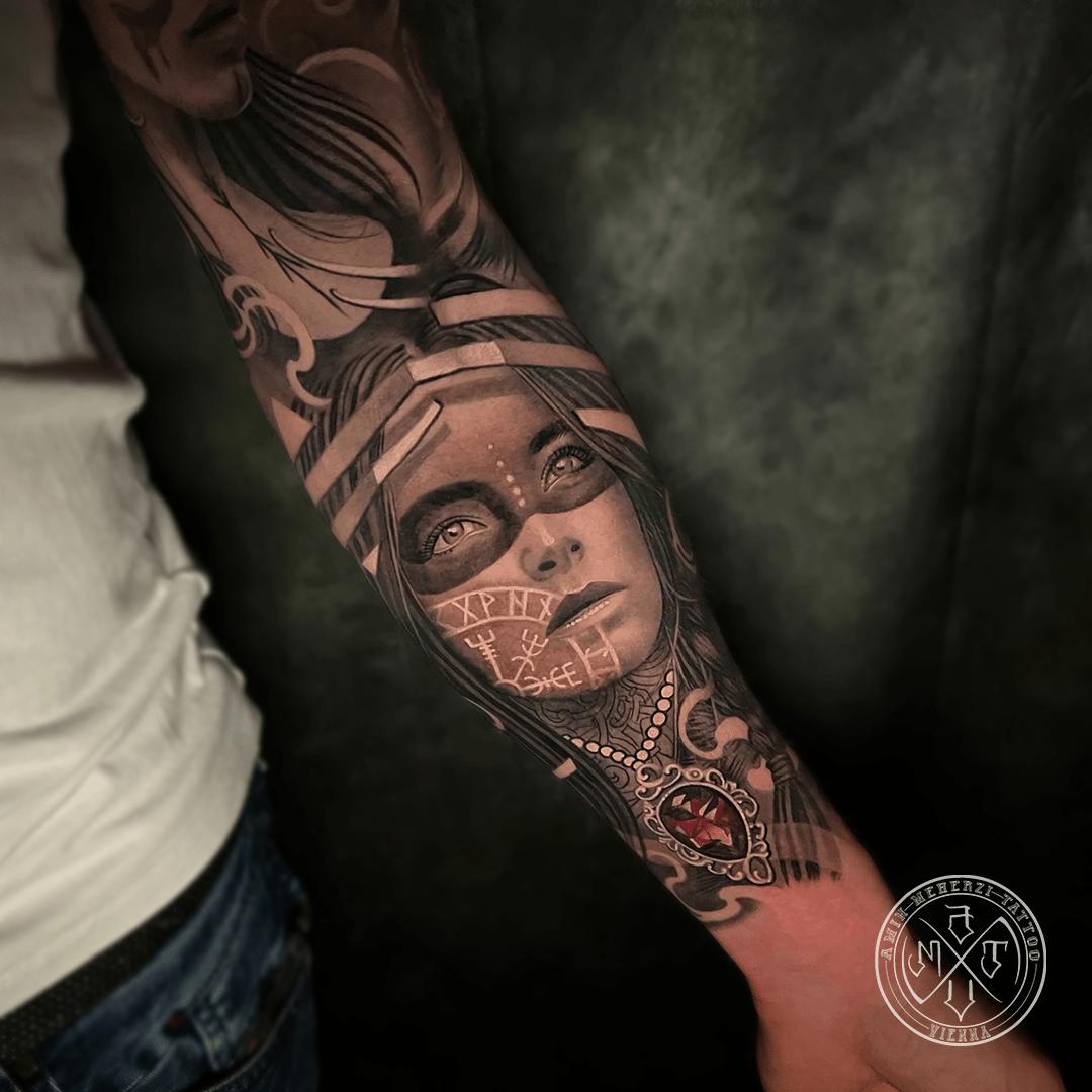 aminmeherzi realistic tattoo black and grey realism portrait woman tattoo portrait opusmagnum vienna