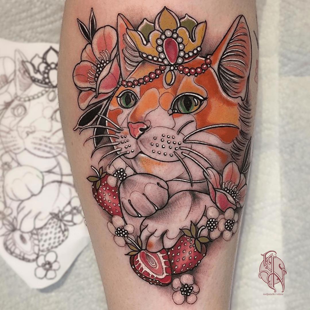 nadjastadler tattoo wien vienna opusmagnum neotraditional animal color tattoo cat portrait