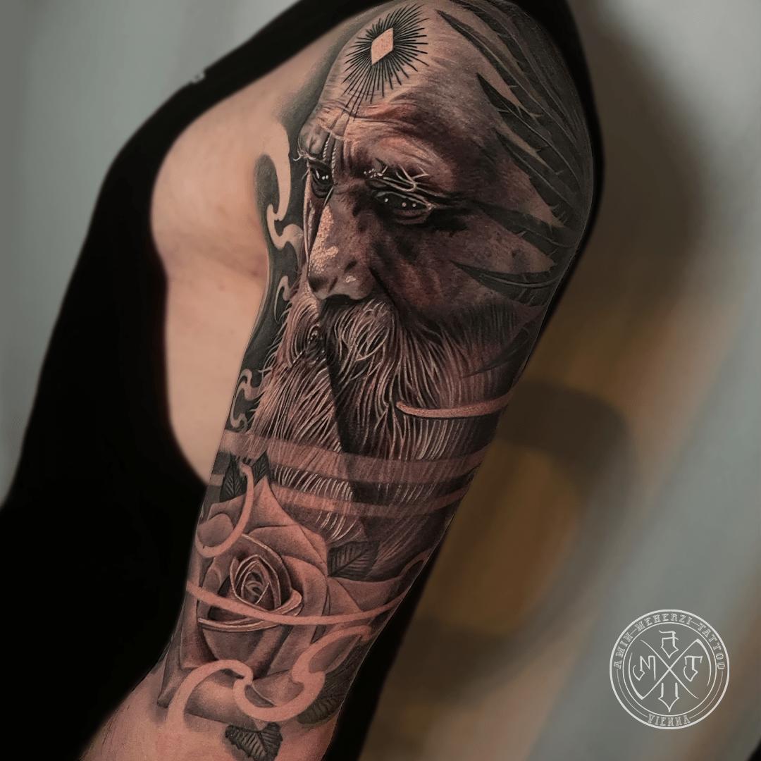 aminmeherzi realistic tattoo black and grey realism rose tattoo portrait opusmagnum vienna
