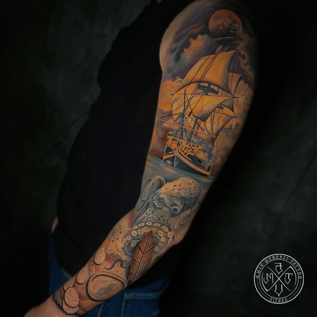 aminmeherzi realistic tattoo black and grey realism sail ship boat water tattoo portrait opusmagnum vienna