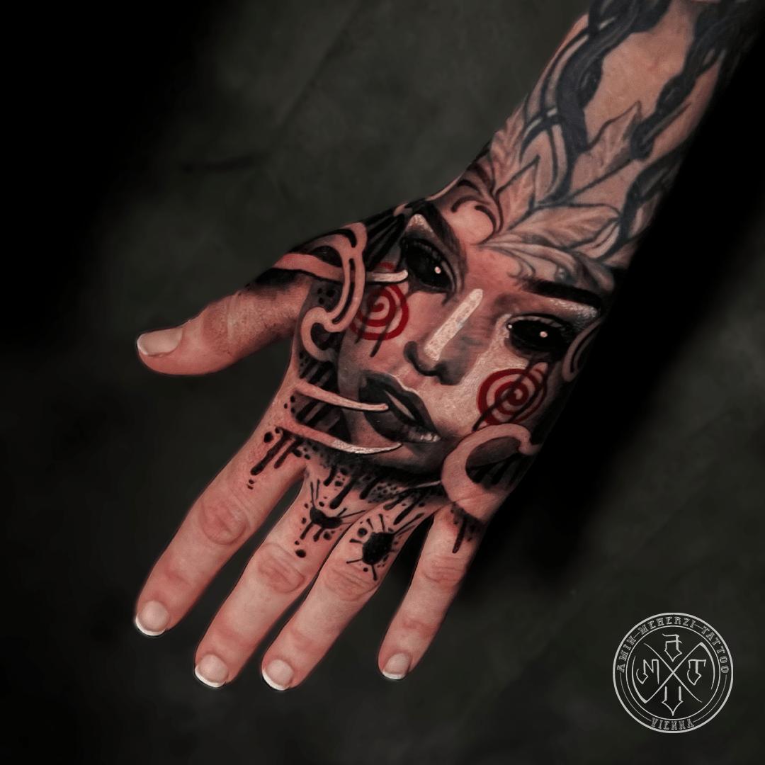aminmeherzi realistic tattoo black and grey realism hand tattoo portrait opusmagnum vienna