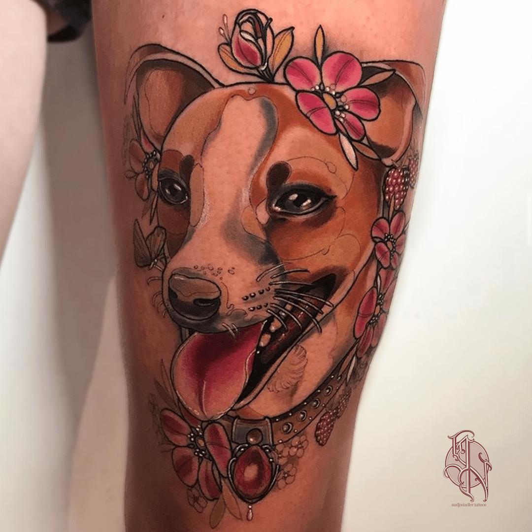 nadjastadler tattoo wien vienna opusmagnum neotraditional animal color tattoo dog portrait