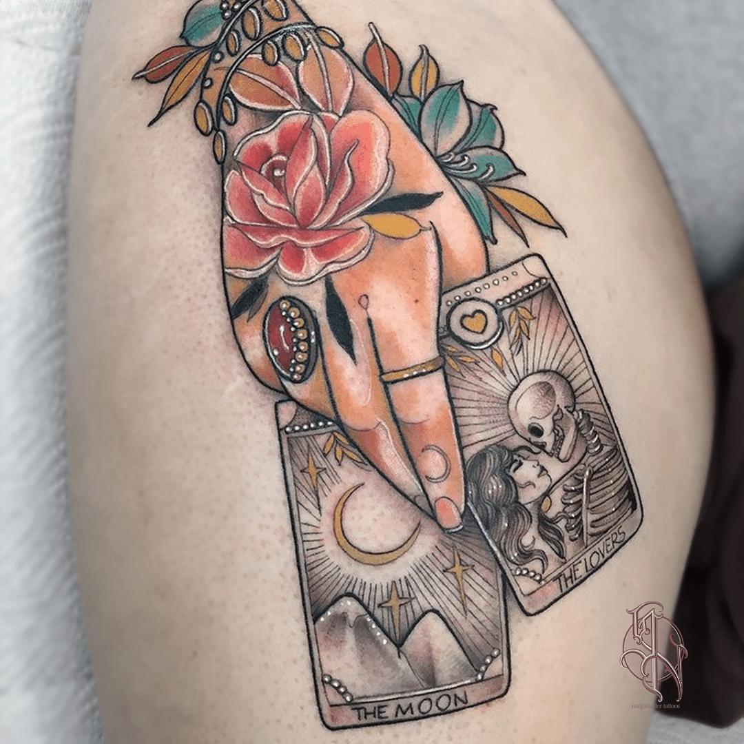 nadjastadler tattoo wien vienna opusmagnum neotraditional animal color tattoo cards lovers moon