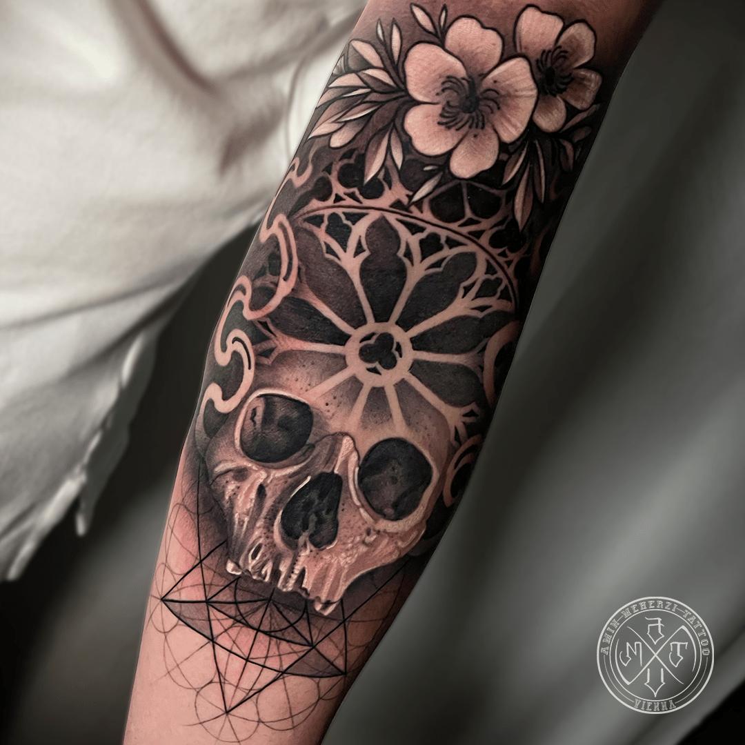 aminmeherzi realistic tattoo black and grey realism skull tattoo portrait opusmagnum vienna