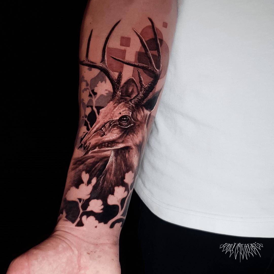 fanimeherzi opusmagnum wien vienna tattoo black and grey realism skull