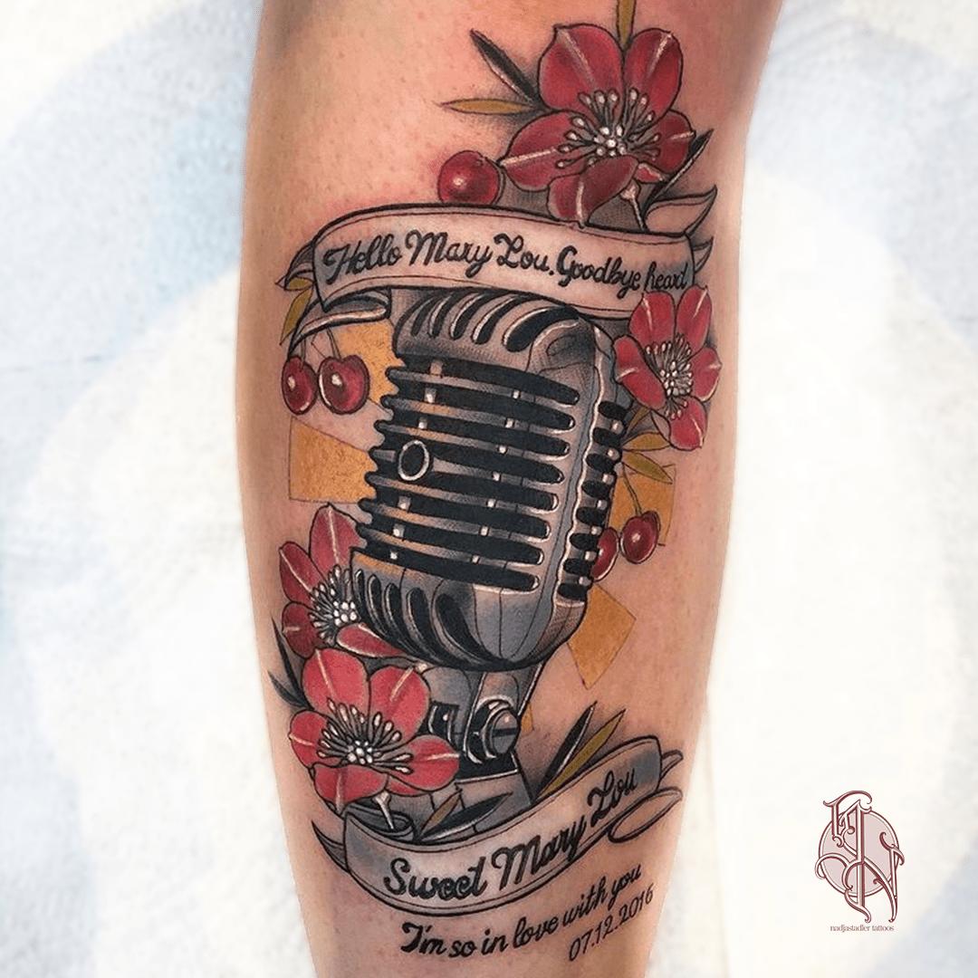nadjastadler tattoo wien vienna opusmagnum neotraditional animal color tattoo music mic