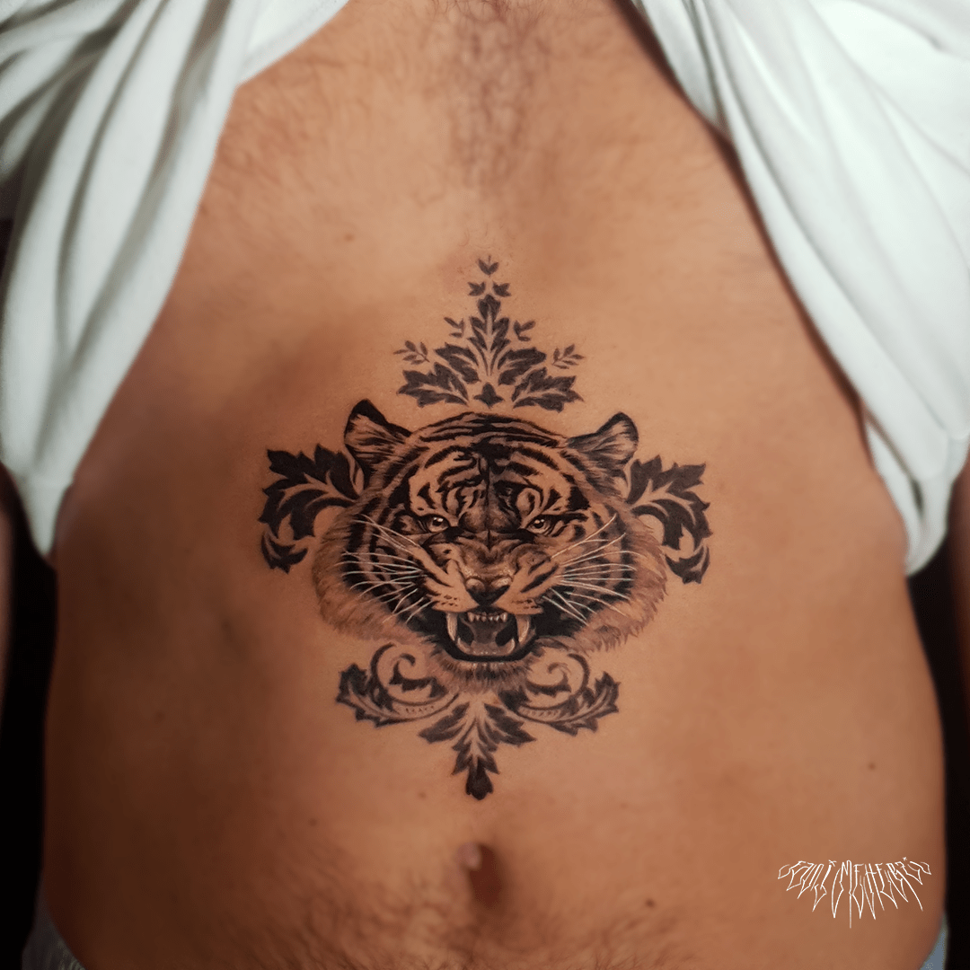 fanimeherzi opusmagnum wien vienna tattoo black and grey realism tiger tattoo