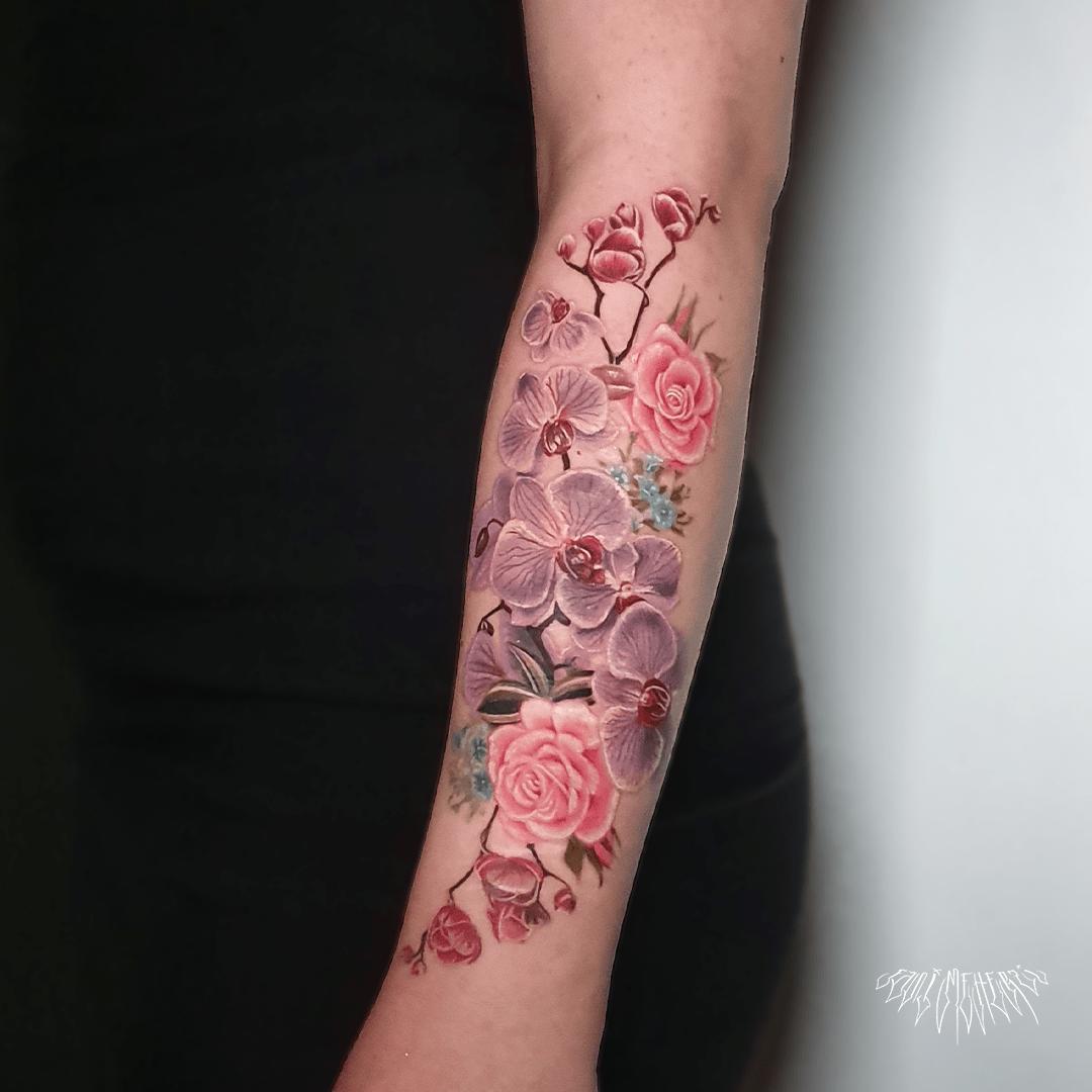 fanimeherzi opusmagnum wien vienna tattoo fullcolor realism flowertattoo